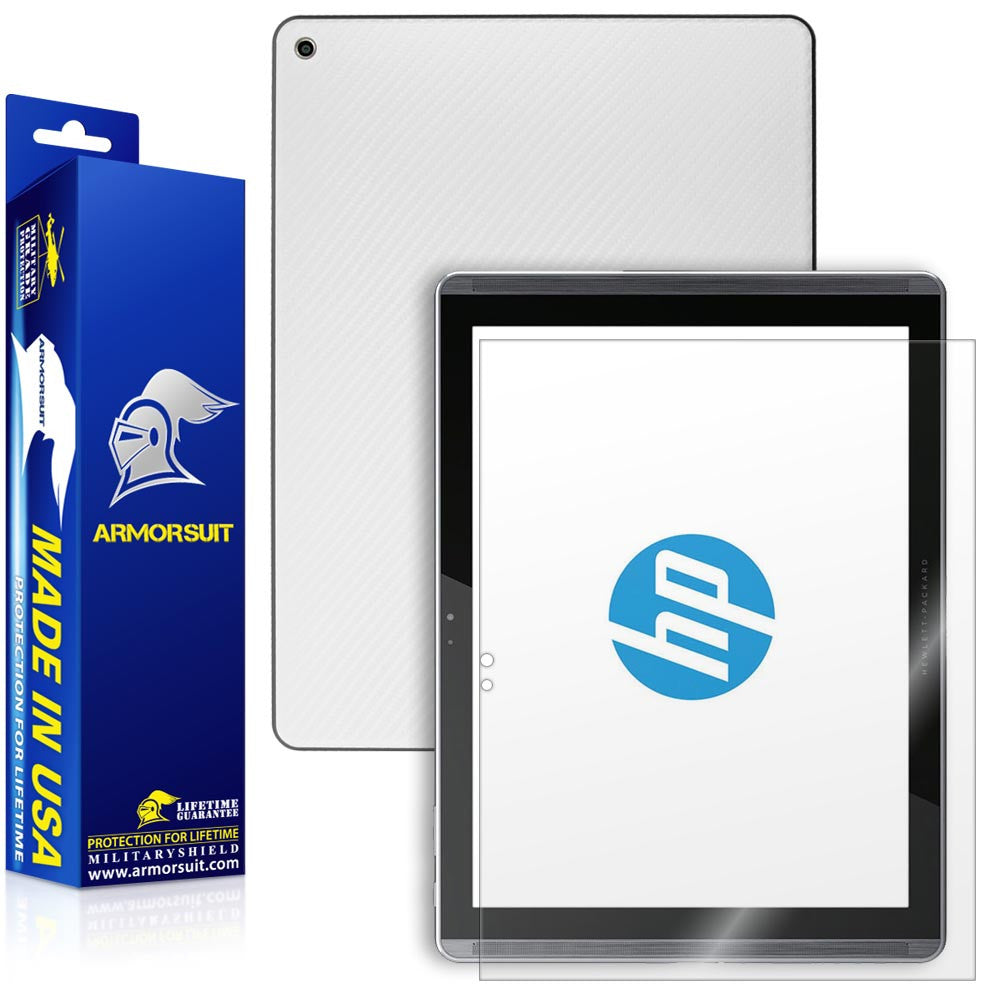 HP Pro Slate 12 Screen Protector + White Carbon Fiber Skin