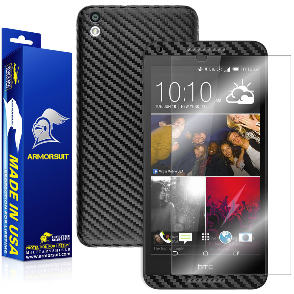HTC Desire 816 Screen Protector + Black Carbon Fiber Skin