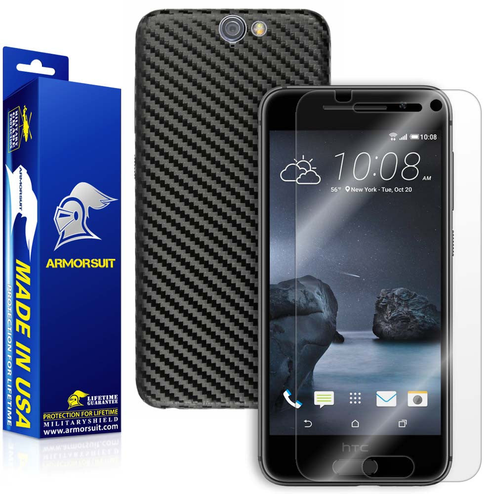 HTC One A9 Screen Protector + Black Carbon Fiber Film Protector