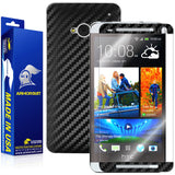 HTC One M7 Screen Protector + Black Carbon Fiber Film Protector