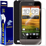 HTC One V Screen Protector + Black Carbon Fiber Film Protector