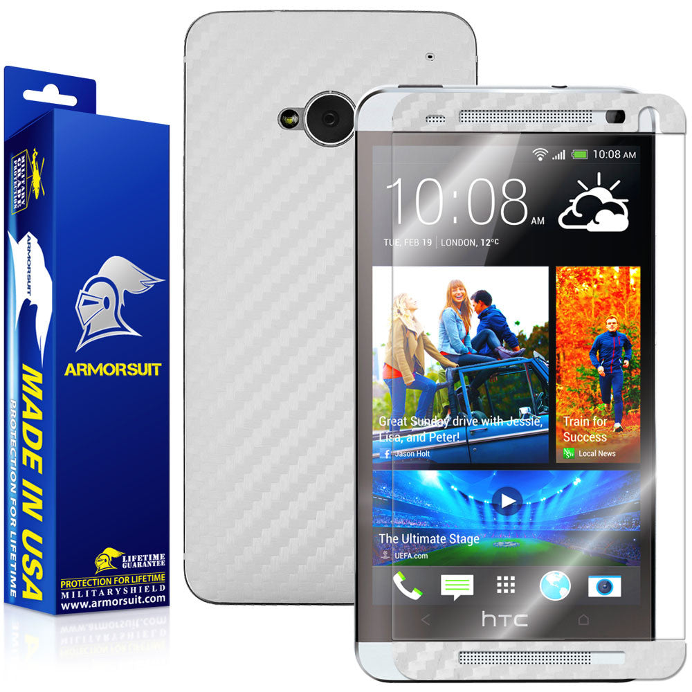 HTC One M7 Screen Protector + White Carbon Fiber Film Protector