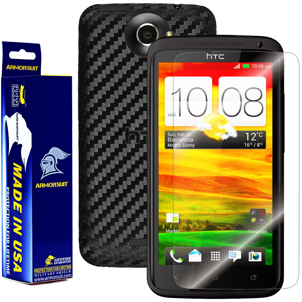 HTC One X Screen Protector + Black Carbon Fiber Film Protector
