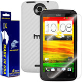 HTC One X Screen Protector + White Carbon Fiber Film Protector