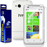 HTC Radar 4G Screen Protector + White Carbon Fiber Skin Protector