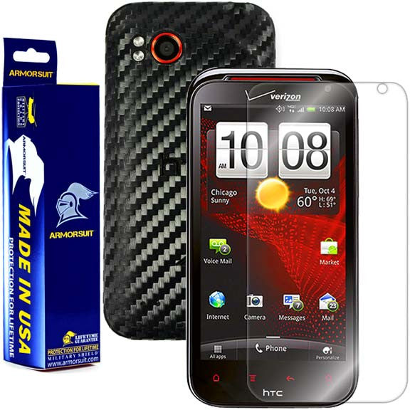 HTC Rezound Screen Protector + Black Carbon Fiber Skin Protector