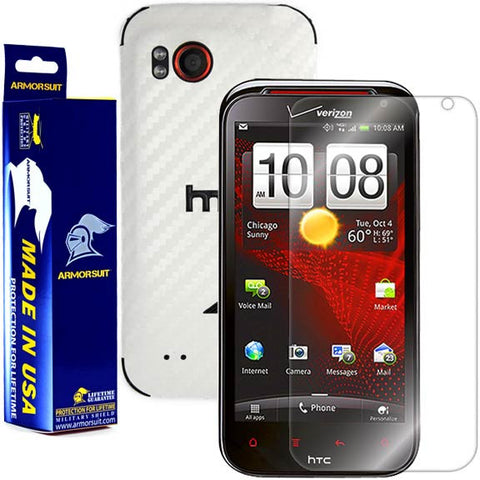 HTC Rezound Screen Protector + White Carbon Fiber Skin Protector