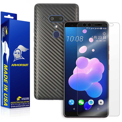 HTC U12 Plus Screen Protector + Black Carbon Fiber Film Protector