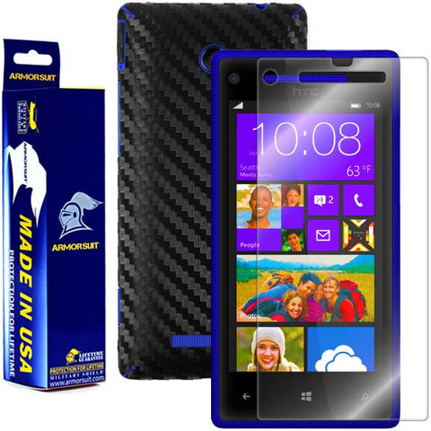 HTC Windows Phone 8X Screen Protector + Black Carbon Fiber Film Protector