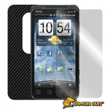 HTC EVO 3D ( Sprint ) Screen Protector + Black Carbon Fiber Skin Protector