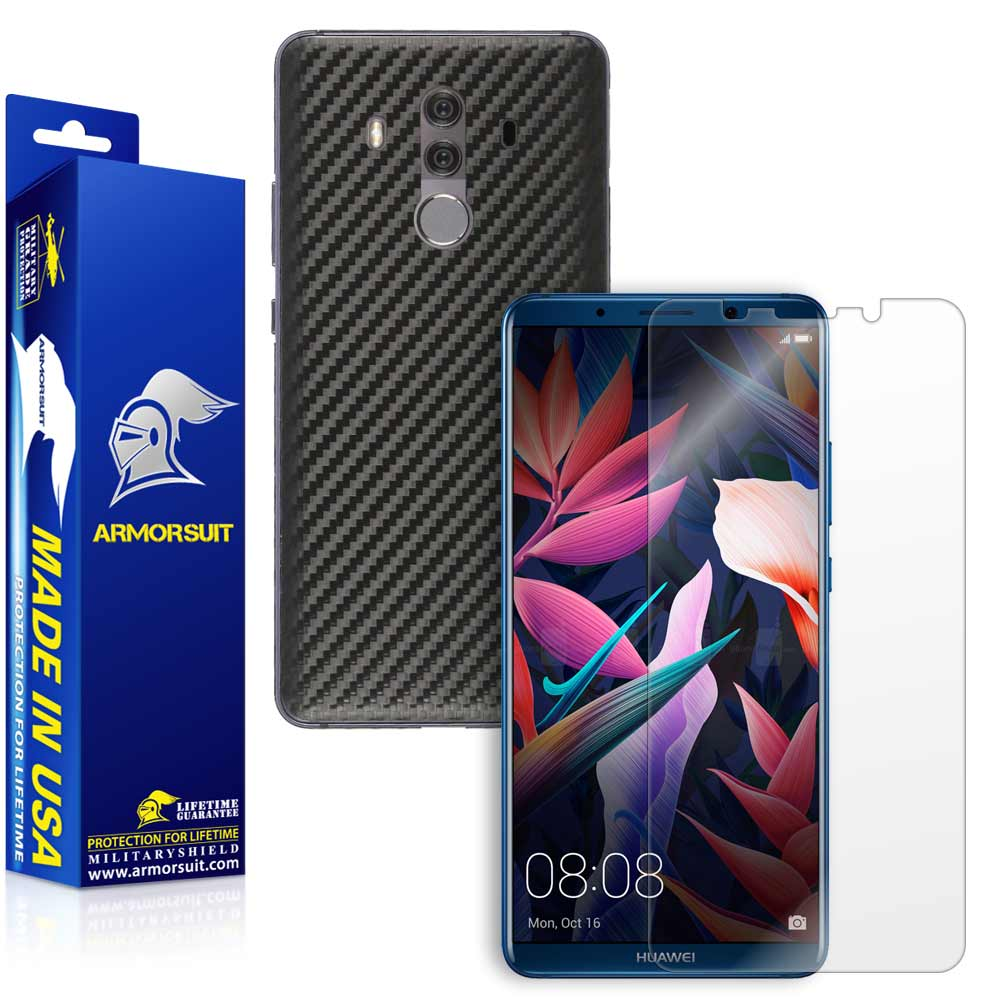 Huawei Mate 10 Pro Screen Protector + Black Carbon Fiber Skin