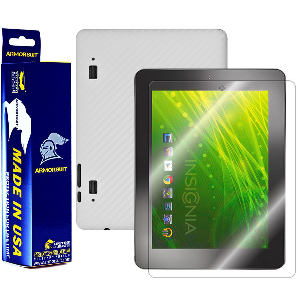 Insignia Flex 8 (NS-14T002) Screen Protector + White Carbon Fiber Film Protector (Not Compatible with Flex 8 LTE)