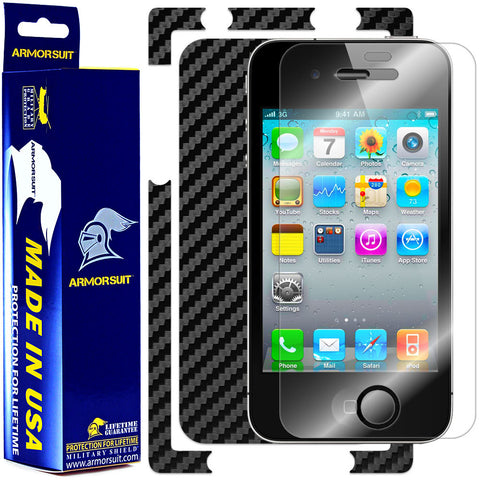 Apple iPhone 4S Screen Protector + Black Carbon Fiber Skin Protector