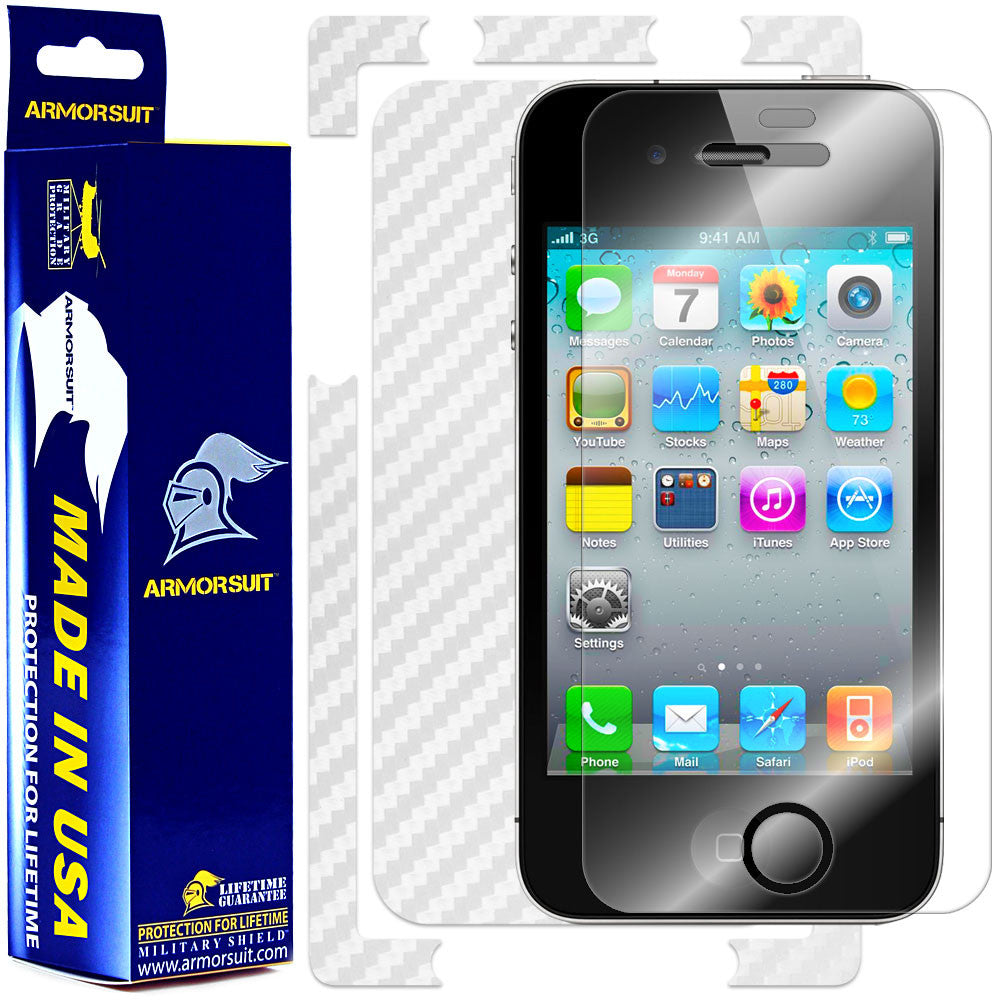 Apple iPhone 4 Screen Protector + White Carbon Fiber Skin Protector