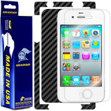 Apple iPhone 4 Screen Protector + Black Carbon Fiber Skin Protector