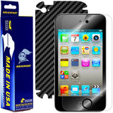 Apple iPod Touch 4G Screen Protector + Black Carbon Fiber Skin