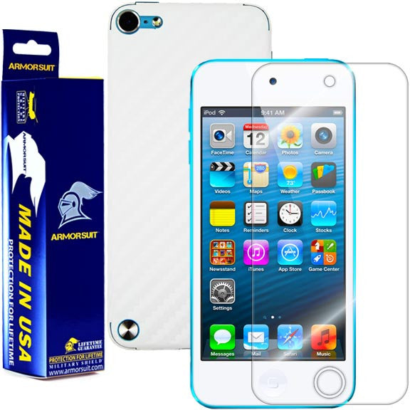 Apple iPod Touch 5G Screen Protector + White Carbon Fiber Skin - ArmorSuit