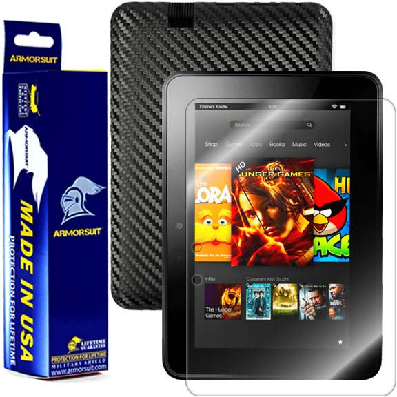 Amazon Kindle Fire HD 7 Inch (2012 First Generation) Screen Protector + Black Carbon Fiber Skin Protector