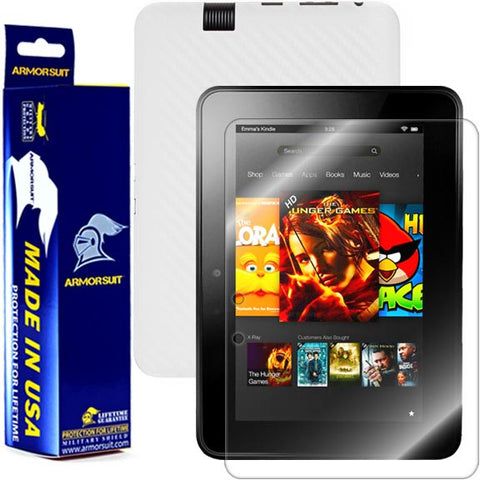 Amazon Kindle Fire HD 7 Inch (2012 First Generation) Screen Protector + White Carbon Fiber Skin Protector
