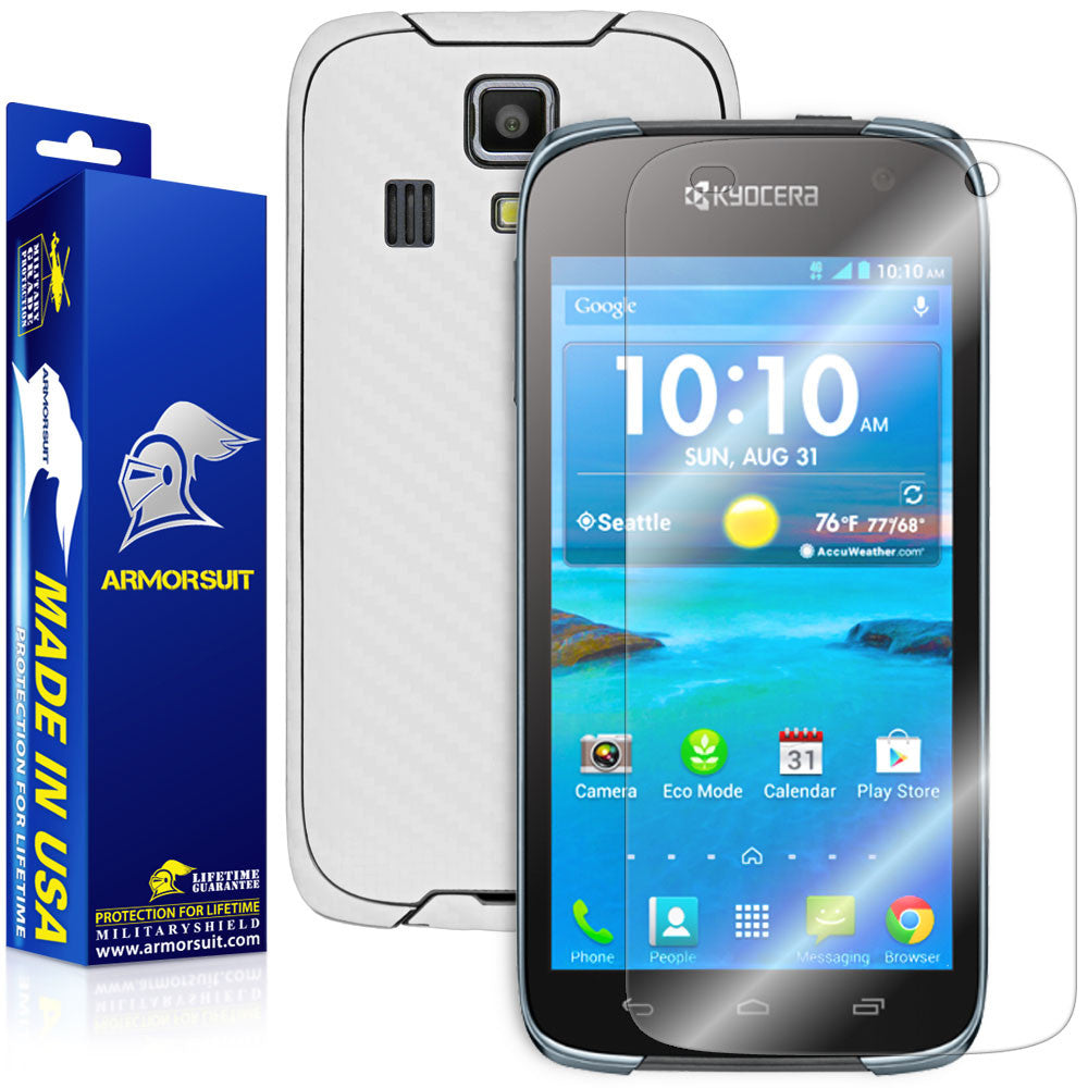 Kyocera Hydro Life Screen Protector + White Carbon Fiber Skin