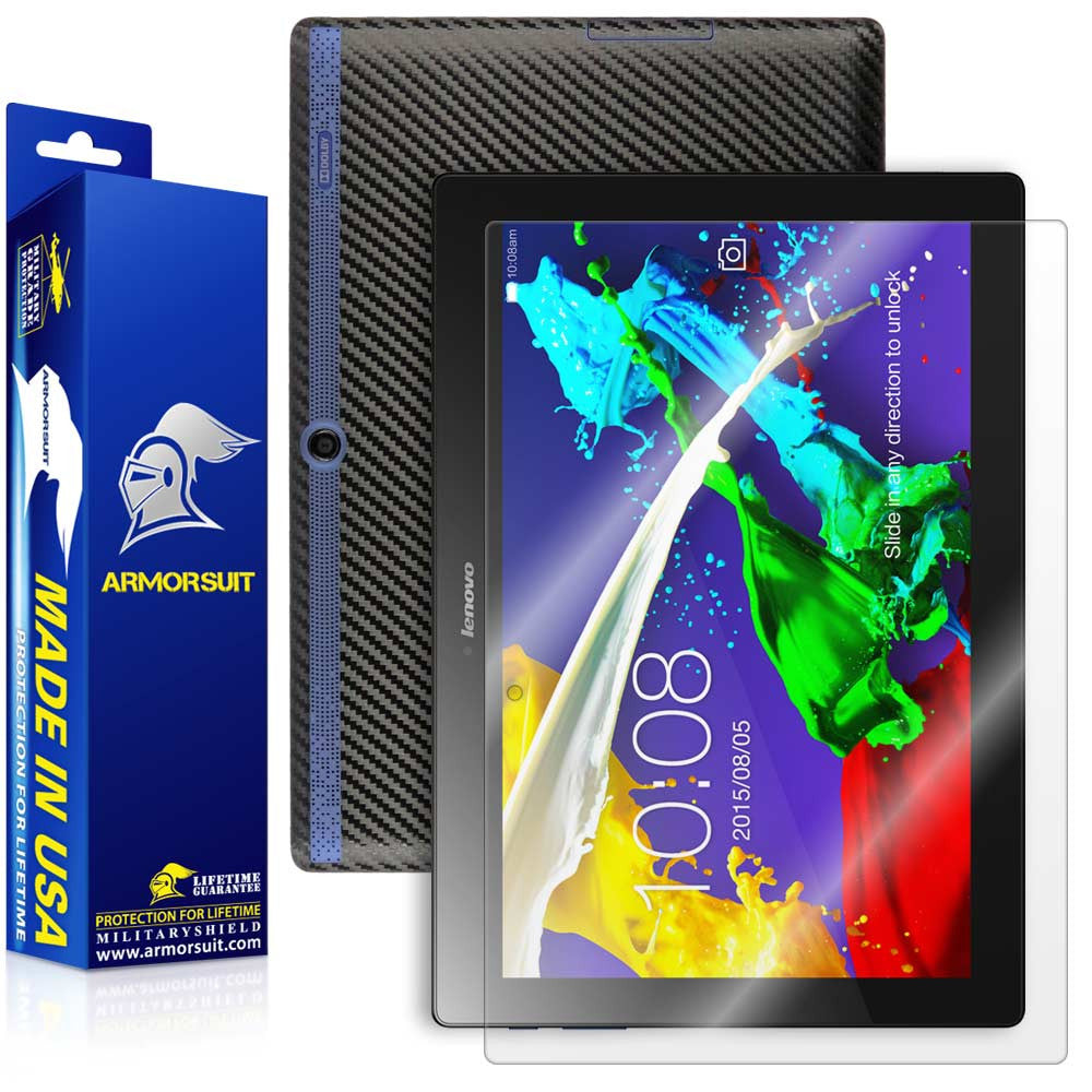 Lenovo Tab 2 A10 Screen Protector + Black Carbon Fiber Skin