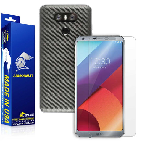 LG G6 Screen Protector + Black Carbon Fiber Skin