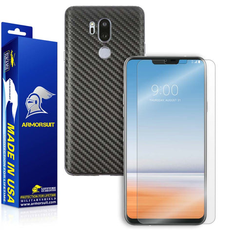 LG G7 ThinQ Screen Protector + Black Carbon Fiber Skin