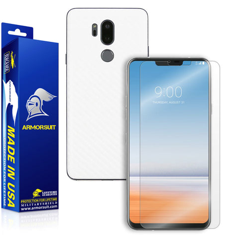 LG G7 ThinQScreen Protector + White Carbon Fiber Skin