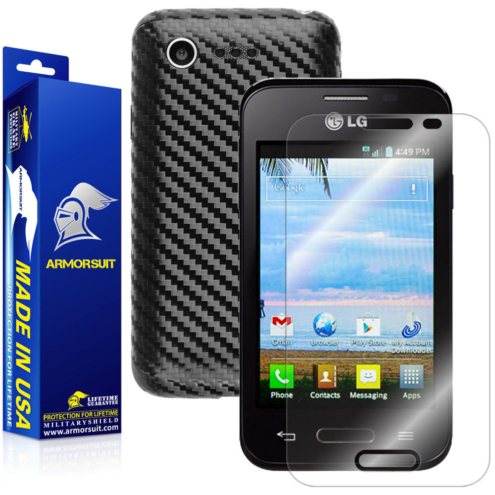 LG Optimus Fuel L34C Screen Protector + Black Carbon Fiber Skin