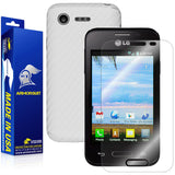 LG Optimus Fuel L34C Screen Protector + White Carbon Fiber Skin