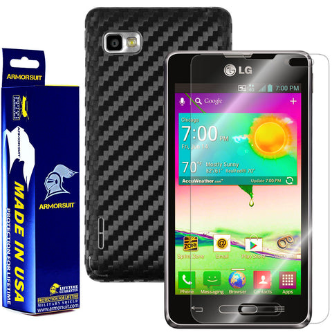 LG Optimus F3 (LS720 / VM720) (Virgin Mobile / Sprint) Screen Protector + Black Carbon Fiber Film Protector