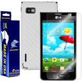 LG Optimus F3 (MS659) (MetroPCS / T-Mobile) Screen Protector  + White Carbon Fiber Film Protector