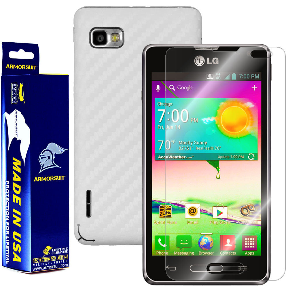 LG Optimus F3 (LS720 / VM720) (Virgin Mobile / Sprint) Screen Protector + White Carbon Fiber Film Protector