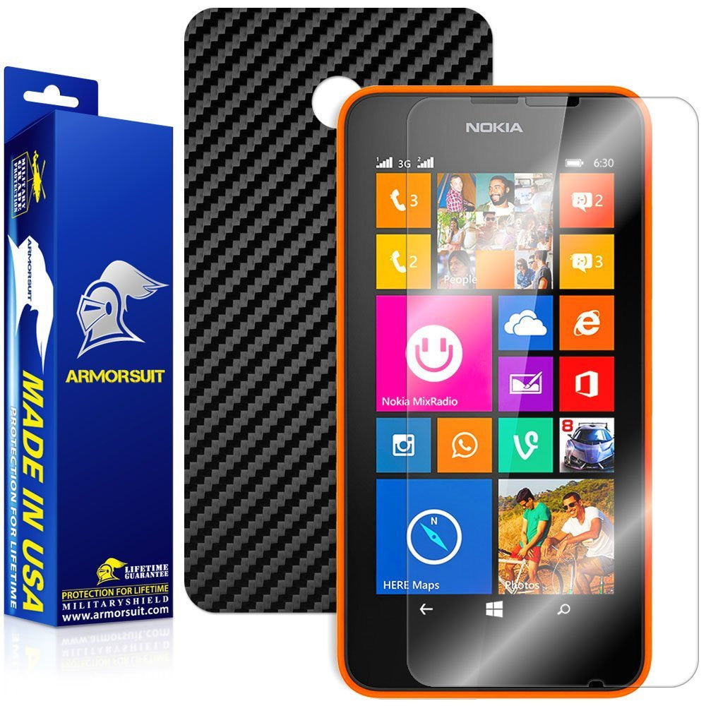 Nokia Lumia 630 / 635 Screen Protector + Black Carbon Fiber Film Protector