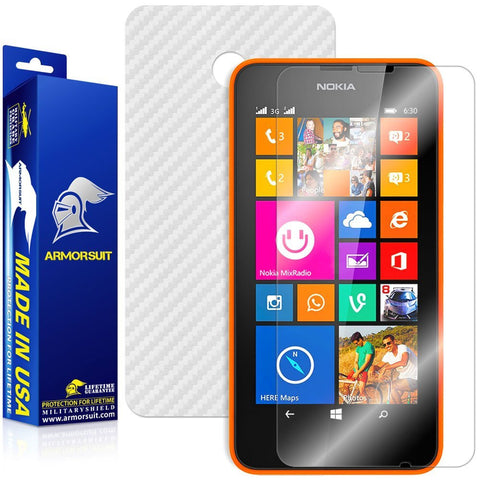 Nokia Lumia 630 / 635 Screen Protector + White Carbon Fiber Film Protector