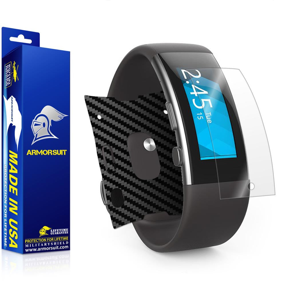 Microsoft Band 2 Screen Protector + Black Carbon Fiber Skin