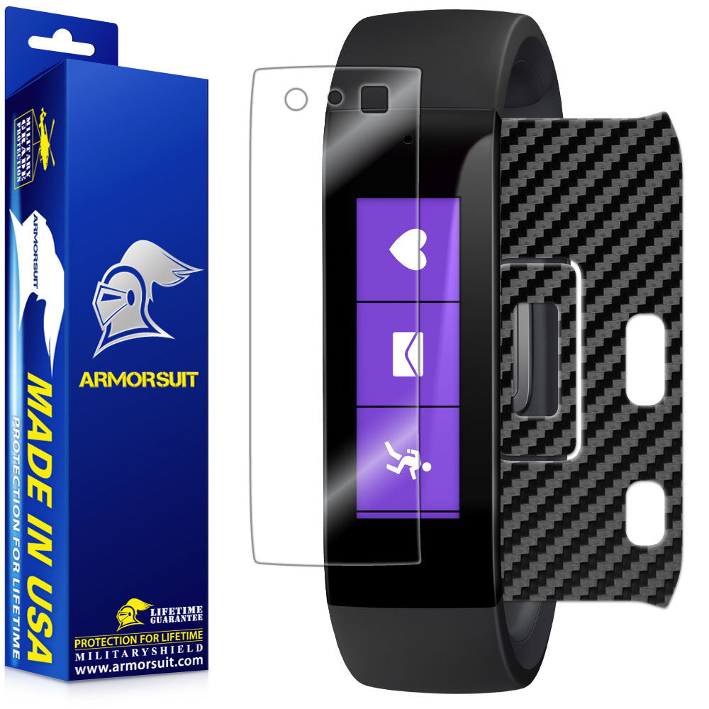 Microsoft Band Screen Protector + Black Carbon Fiber Skin
