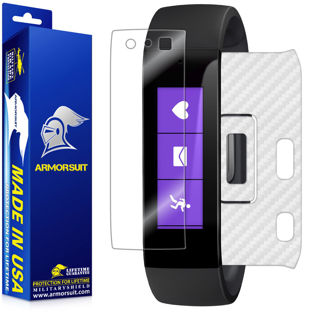 Microsoft Band Screen Protector + White Carbon Fiber Skin