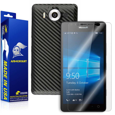 Microsoft Lumia 950 Screen Protector + Black Carbon Fiber Skin