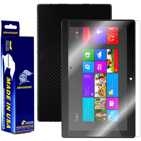 Microsoft Surface Windows 8 Pro Screen Protector + Black Carbon Fiber Film Protector