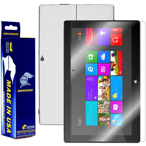 Microsoft Surface Windows 8 Pro Screen Protector + White Carbon Fiber Film Protector