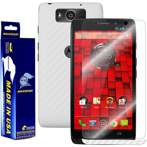 Motorola Droid Maxx Screen Protector + White Carbon Fiber Film Protector