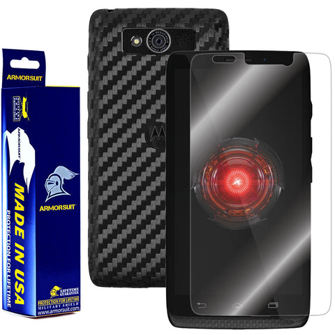 Motorola Droid Mini Screen Protector + Black Carbon Fiber Film Protector