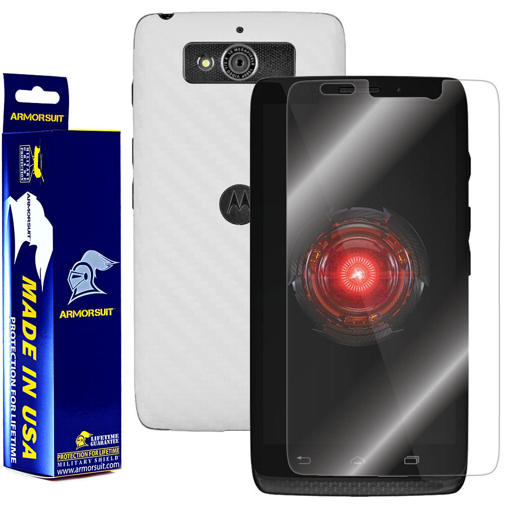 Motorola Droid Mini Screen Protector + White Carbon Fiber Film Protector