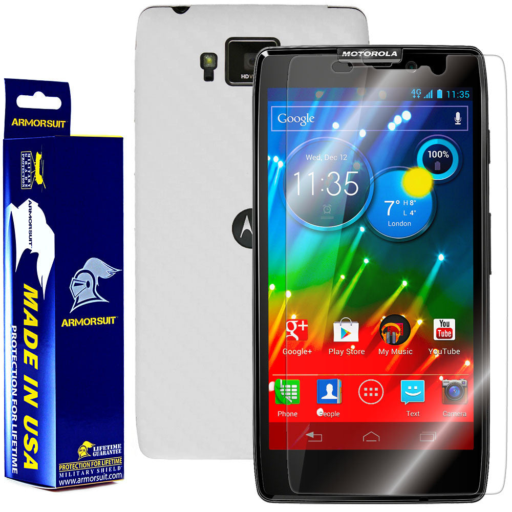 Motorola Droid Razr HD Screen Protector + White Carbon Fiber Film Protector