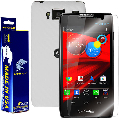 Motorola Droid Razr Maxx HD Screen Protector + White Carbon Fiber Film Protector