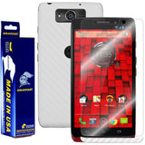 Motorola Droid Ultra Screen Protector + White Carbon Fiber Film Protector