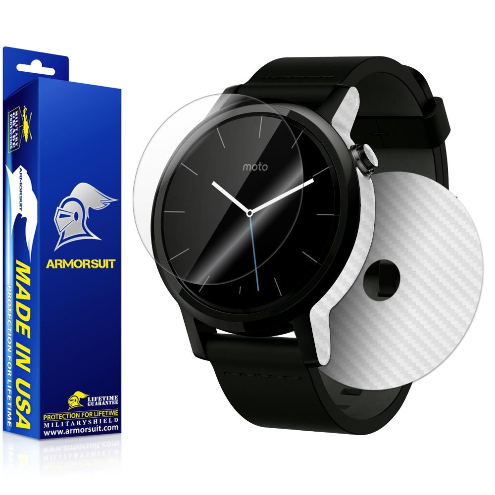 Motorola Moto 360 42mm (Men) 2nd Generation 2015 Screen Protector + White Carbon Fiber Skin