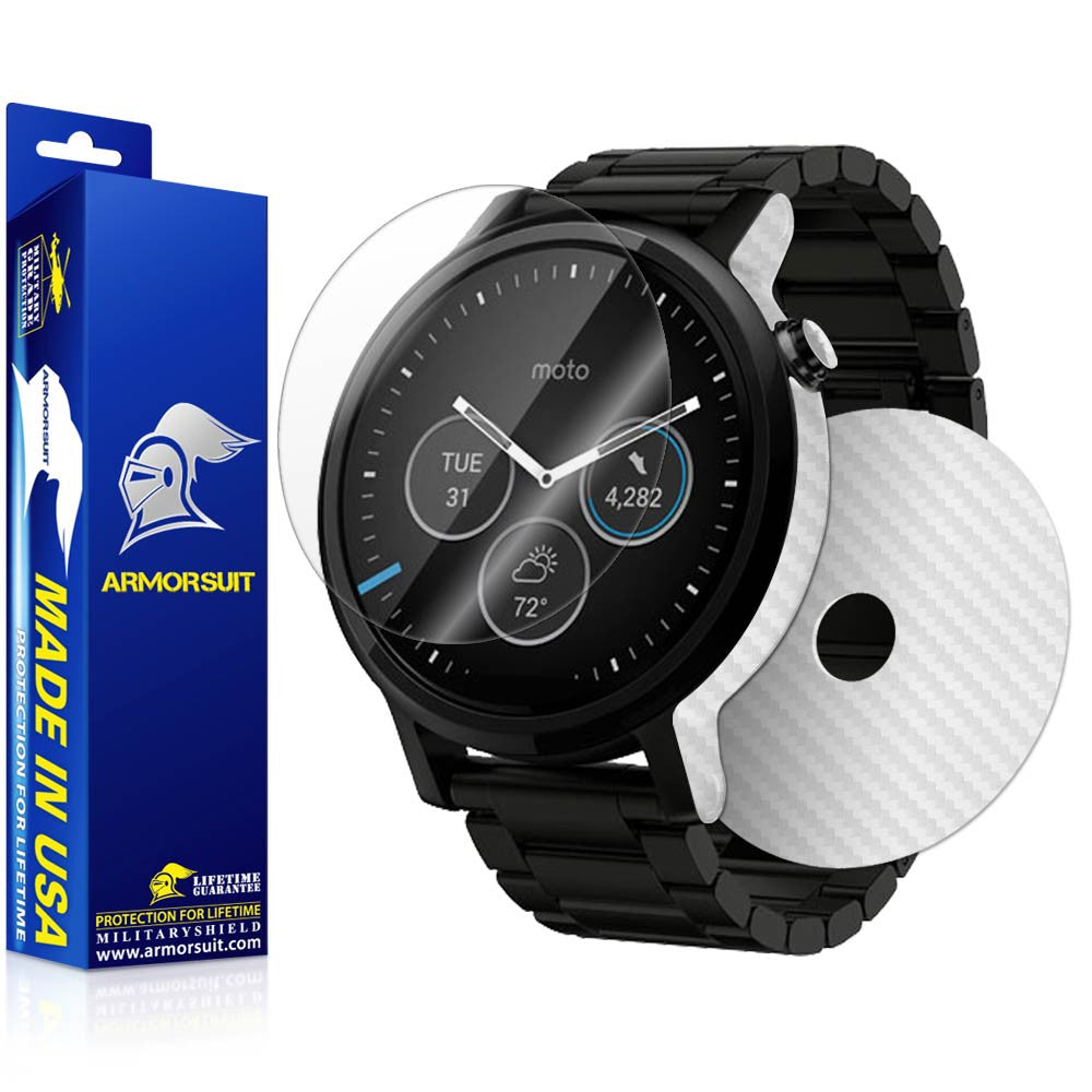 Motorola Moto 360 46mm 2nd Generation 2015 Screen Protector + White Carbon Fiber Skin