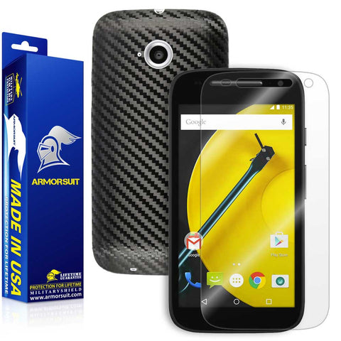Motorola Moto E (2nd Gen, 2015) Screen Protector + Black Carbon Fiber Skin